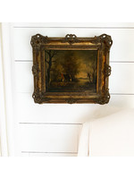 Antique French Country Cottage Painting
