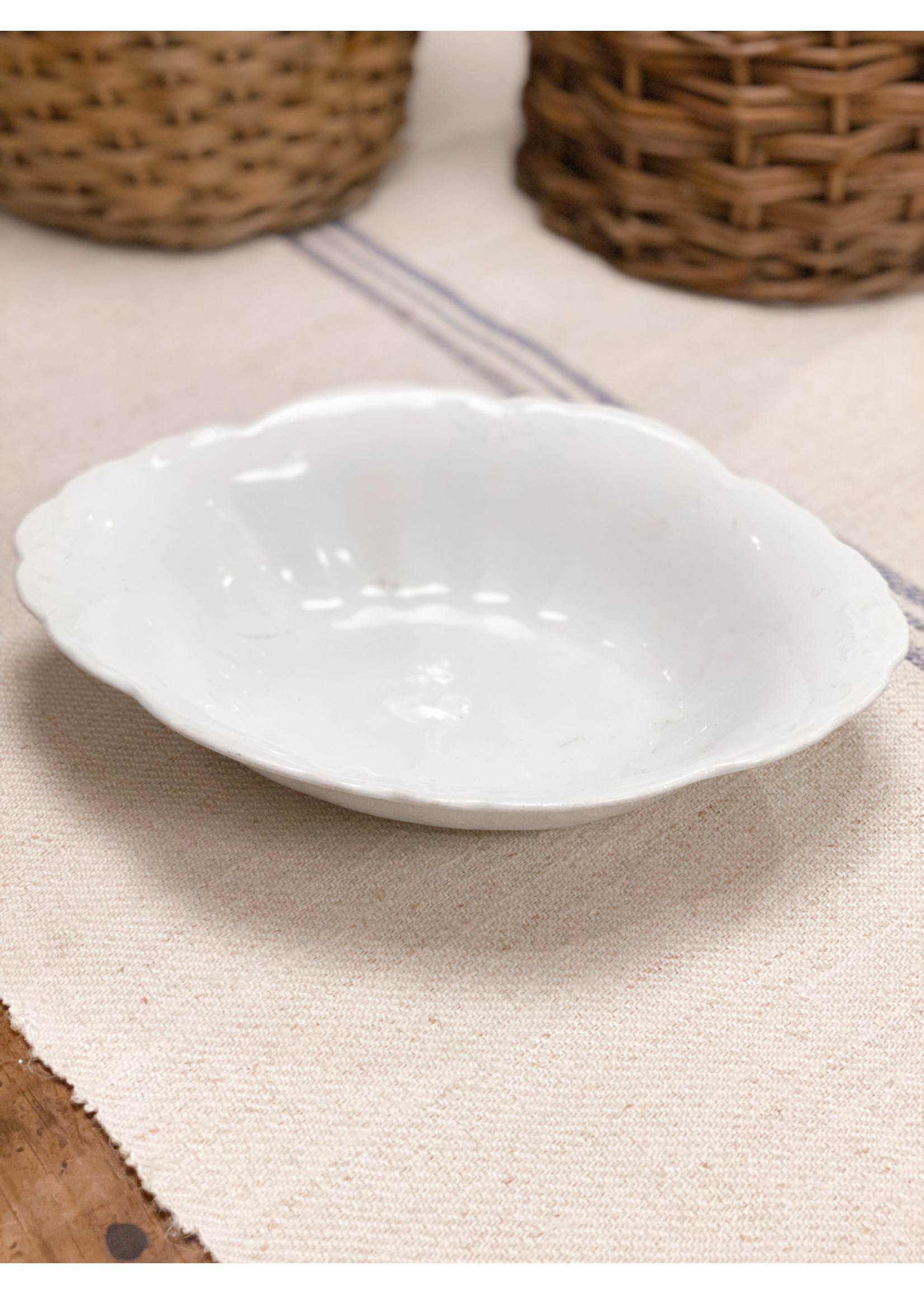 Antique Antique Ironstone Oval Embossed Serving Bowl