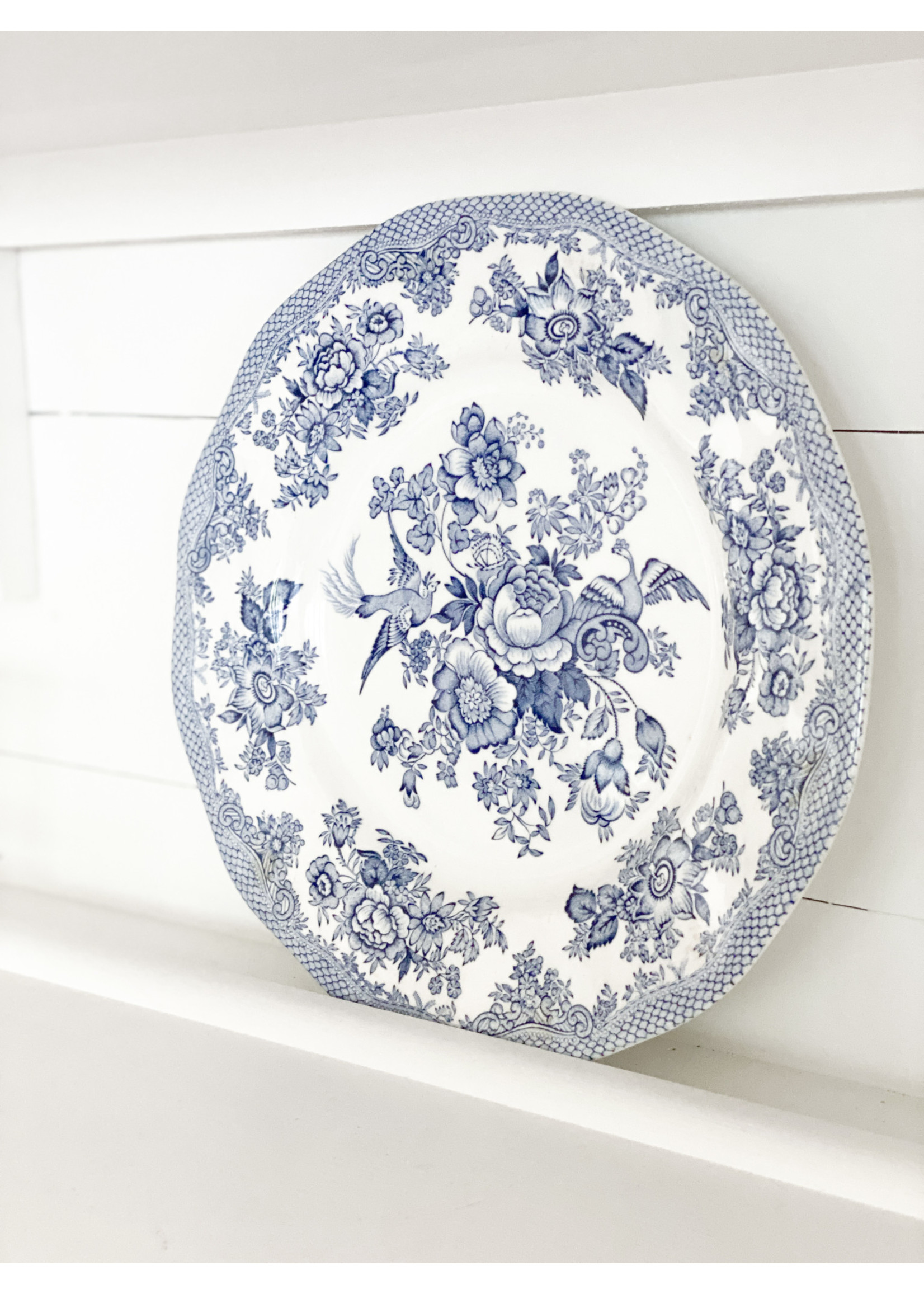 Antique Asiatic Pheasants Blue & White Plate
