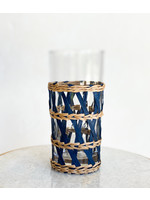 Amanda Lindroth Island Wrapped Ice Tea Glass - Navy