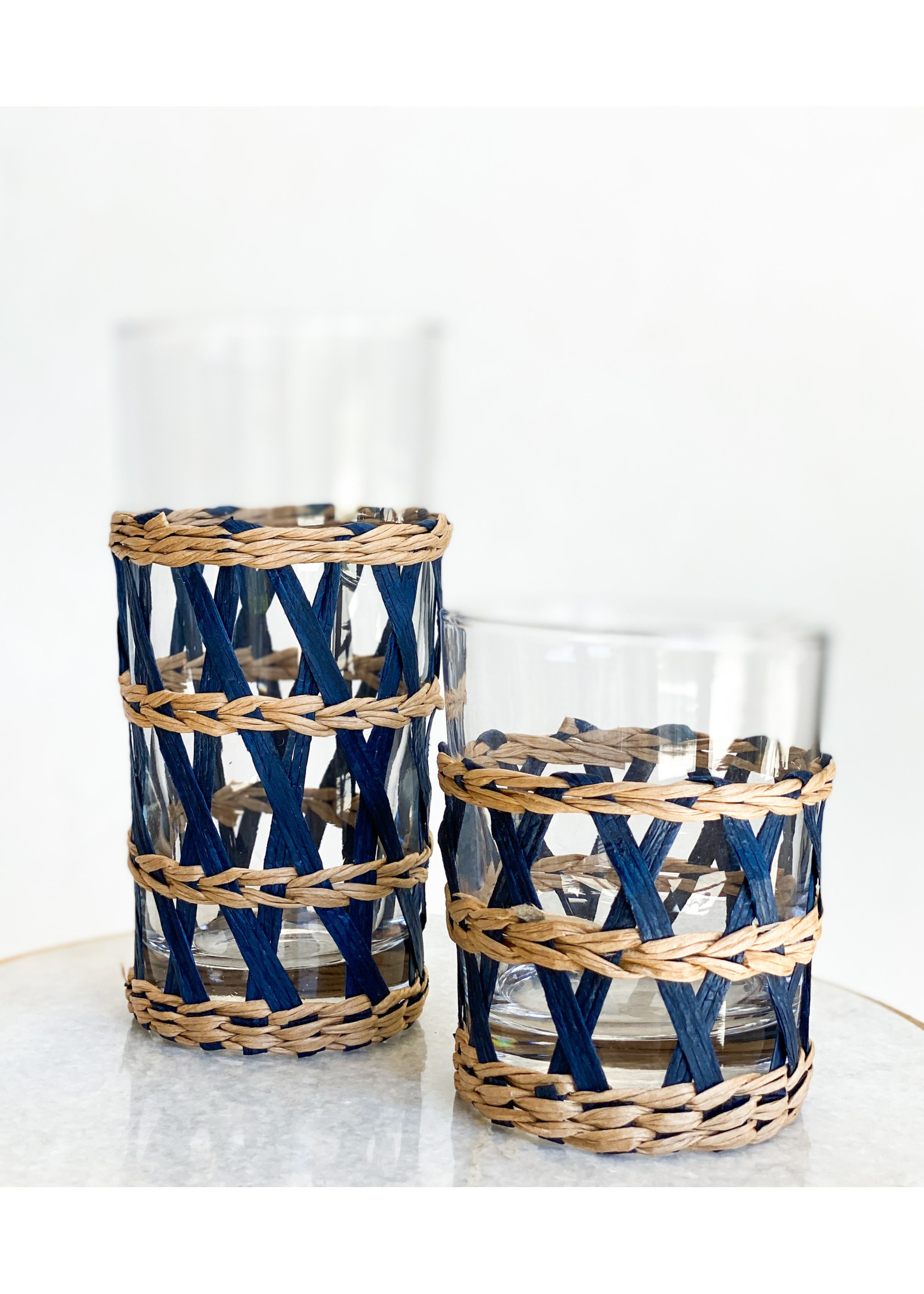 Amanda Lindroth Island Wrapped Ice Tea Glass - Navy