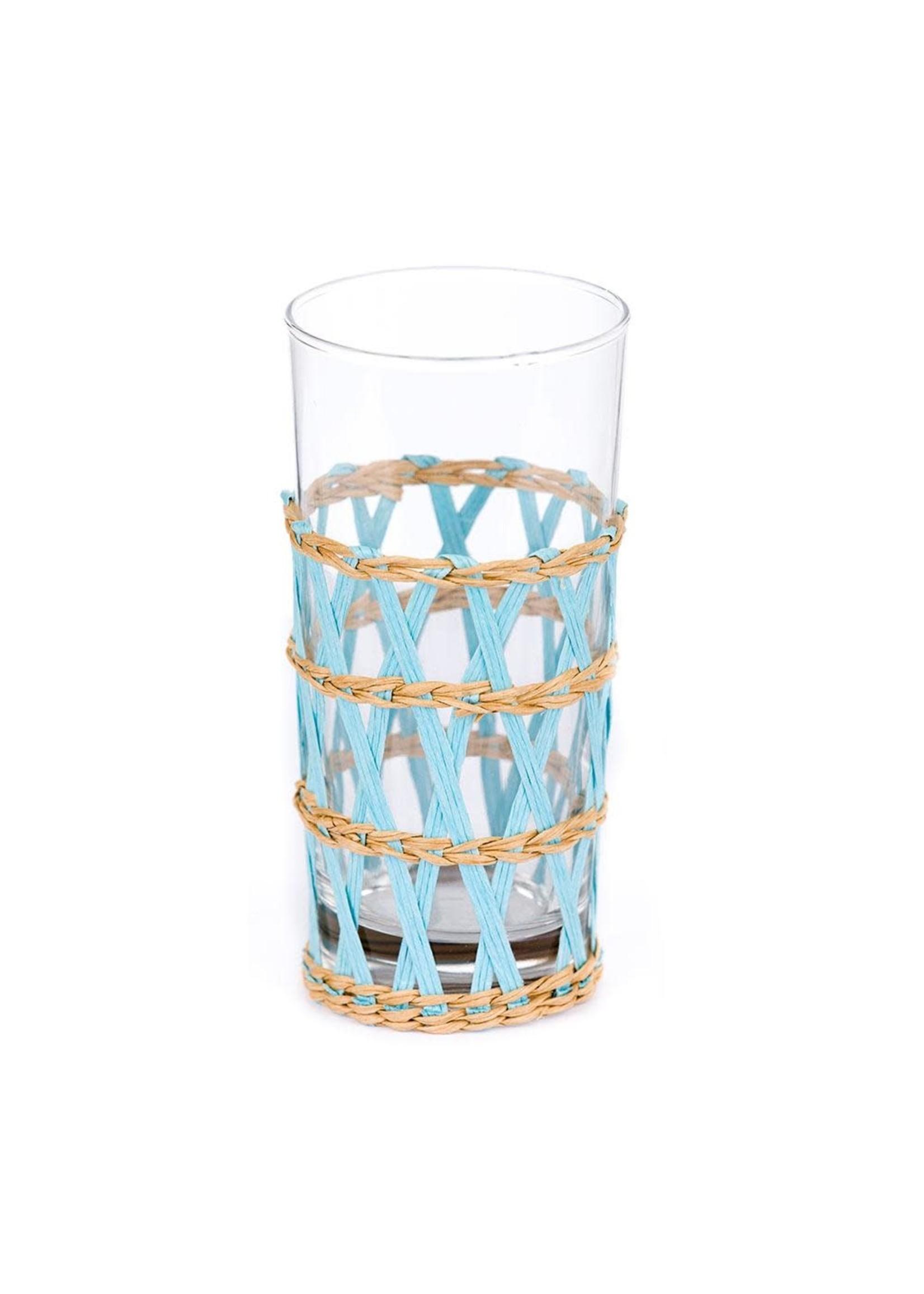 Amanda Lindroth Island Wrapped Ice Tea Glass - Light Blue