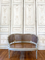 Antique Cane Louis XVI Settee