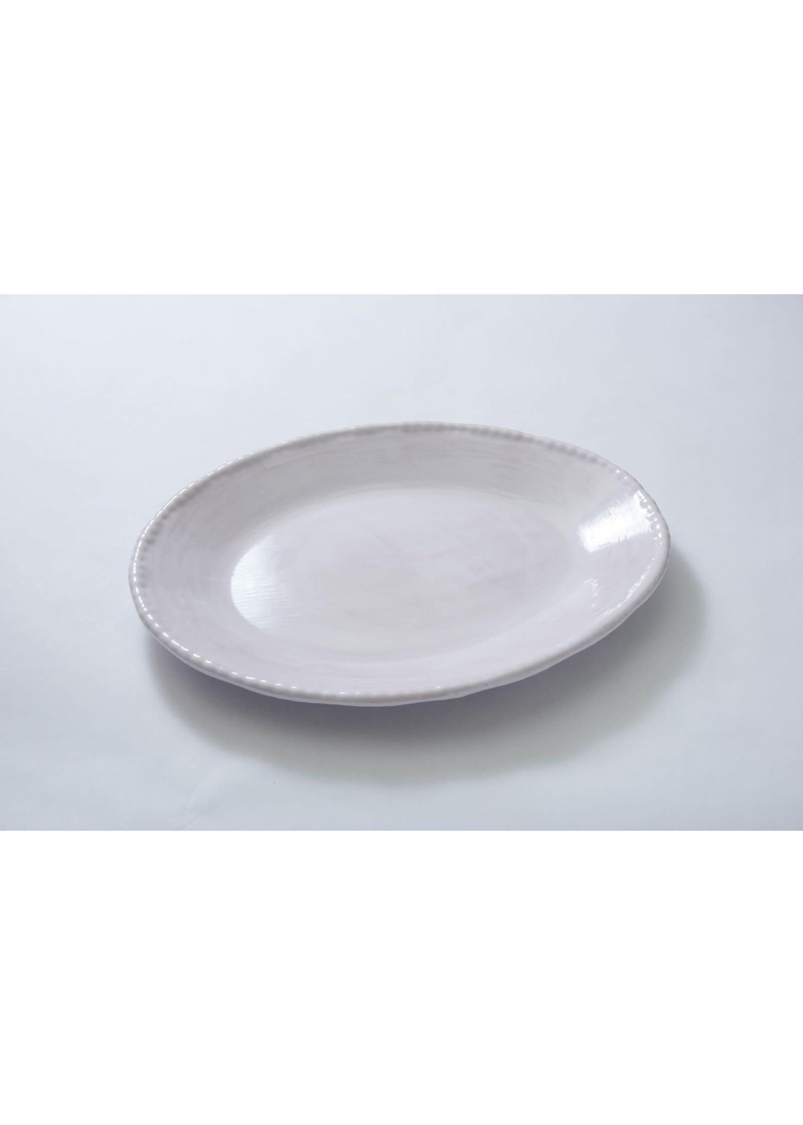 Relish Melamine - Beaded Oval Serving Dish - White