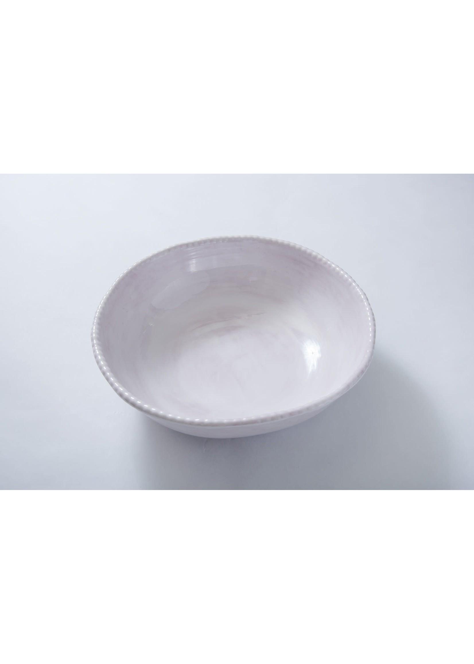 Relish Melamine - Beaded Serving Bowl - White