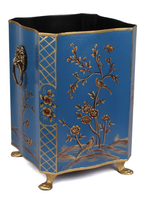 Wastepaper Basket - Scalloped Chinoiserie Navy/Gold