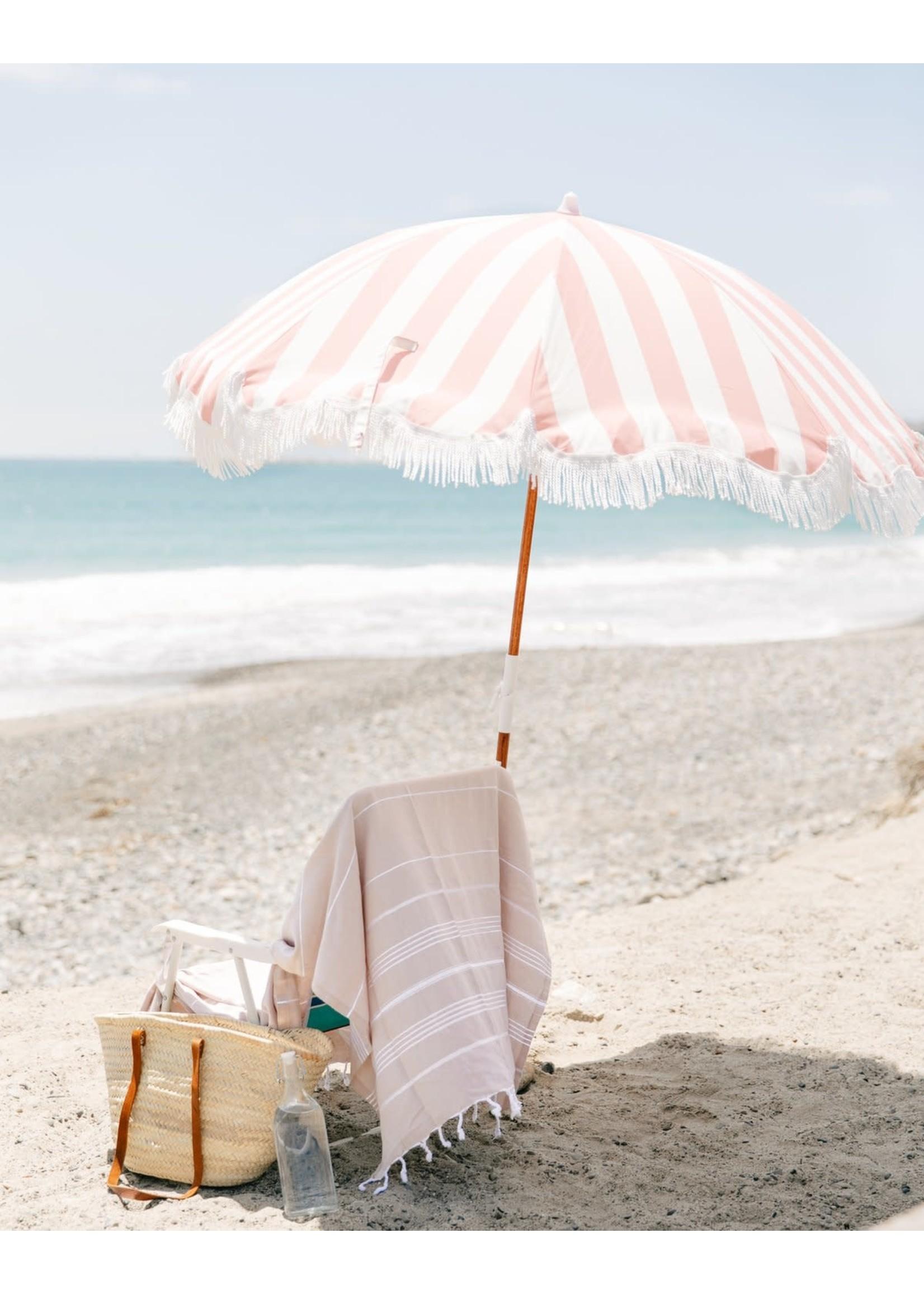 Holiday Beach Umbrella - Pink Crew Stripe