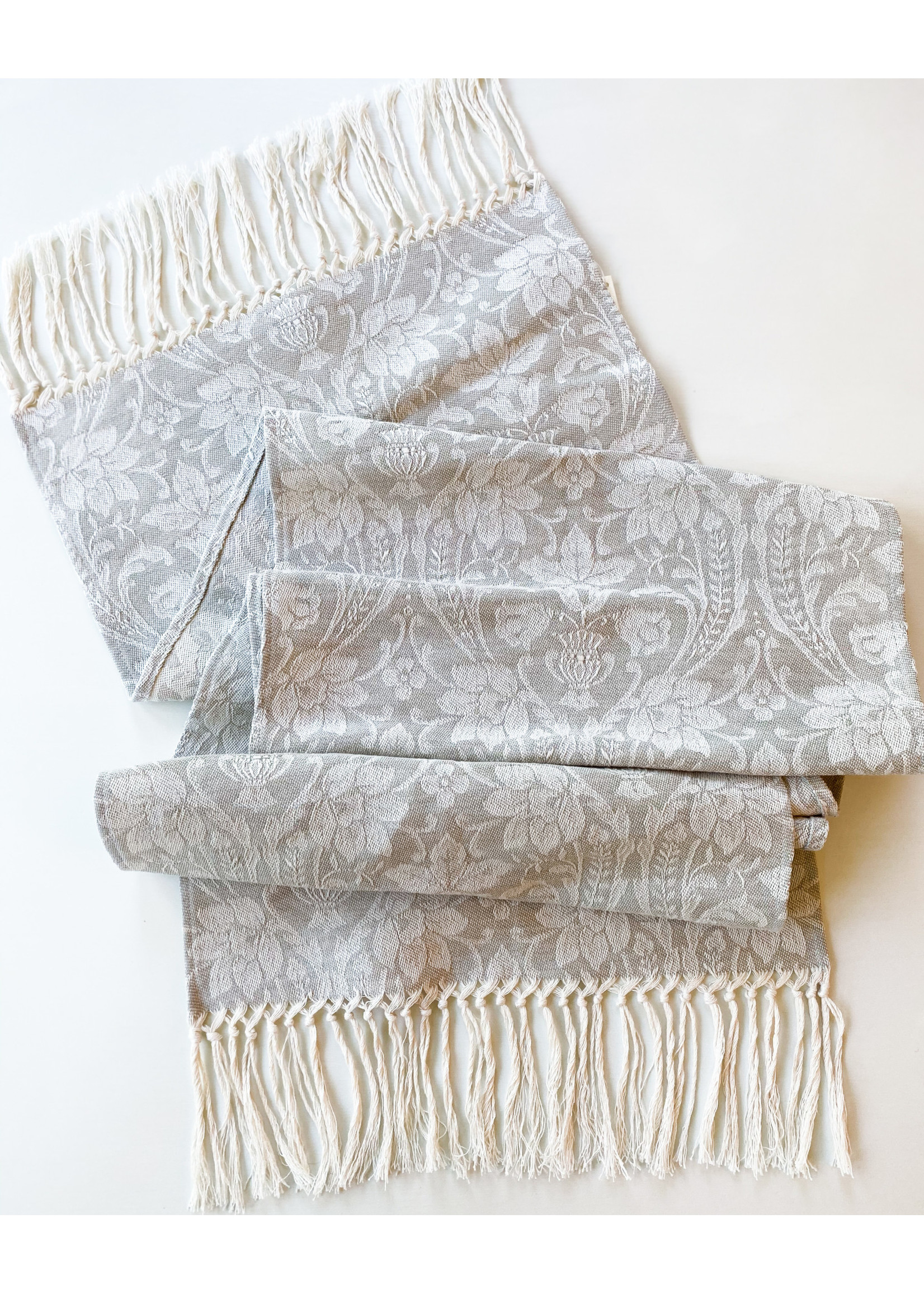 Busatti Runner Donna di Coppe Hand Knotted Fringe Taupe