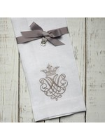 Crown Linen Towel - Crest White (Taupe)