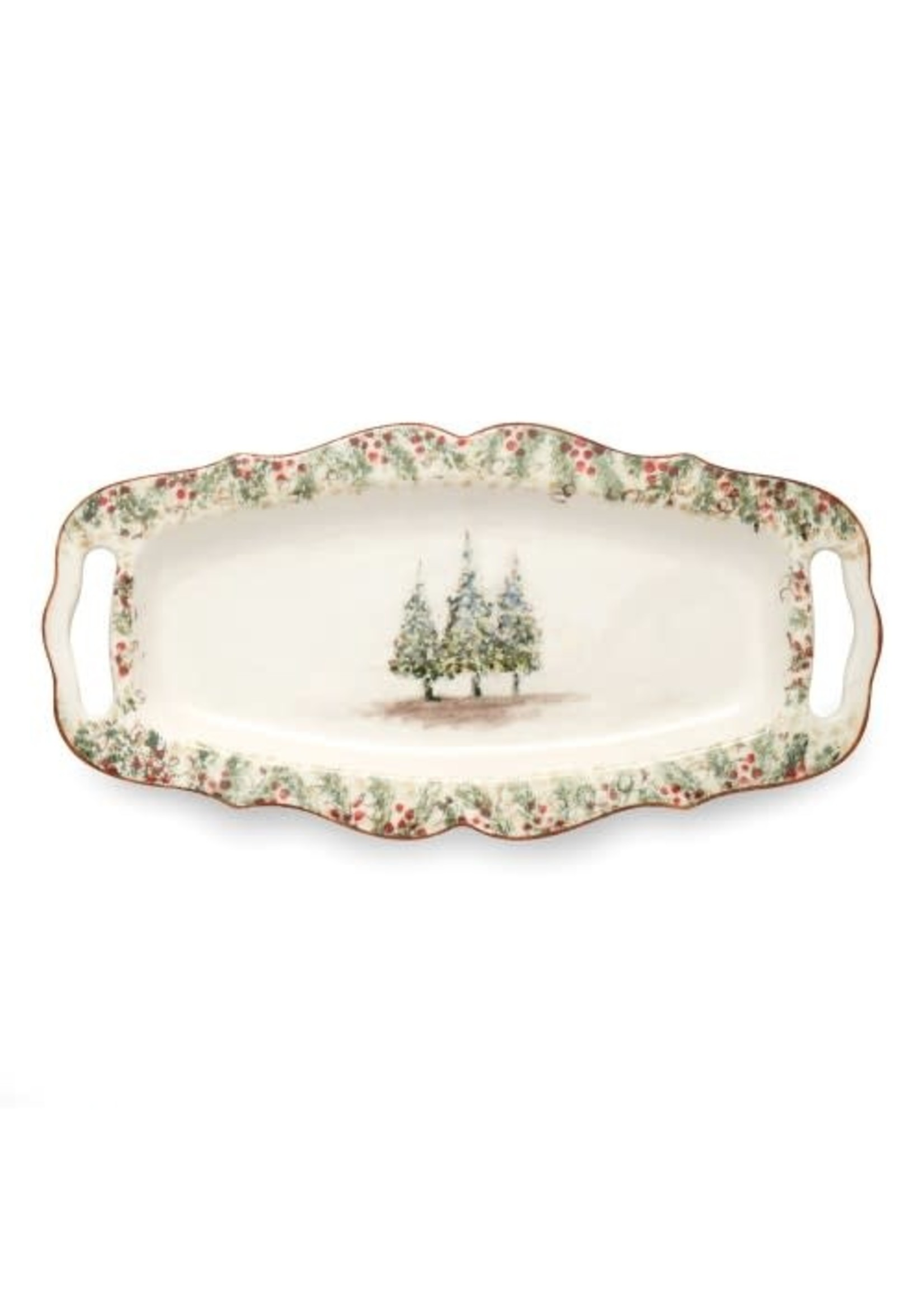 Arte Italica Natale - Long Rectangle Tray with Handles
