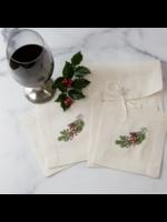 Crown Linen Cocktail Napkin Set - Natale Sprig