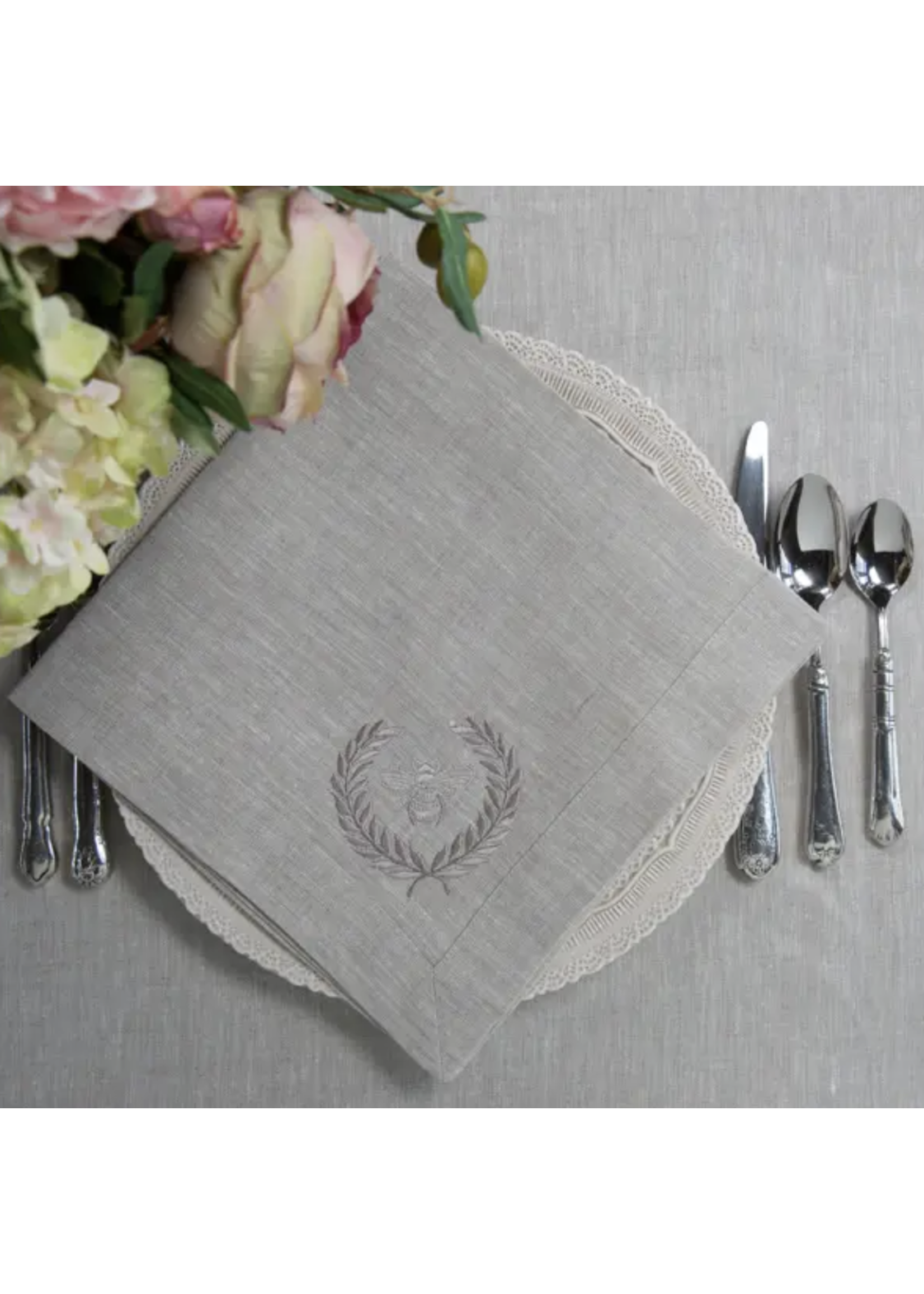 Crown Linen Napkin Large - Bumble Bee - Flax
