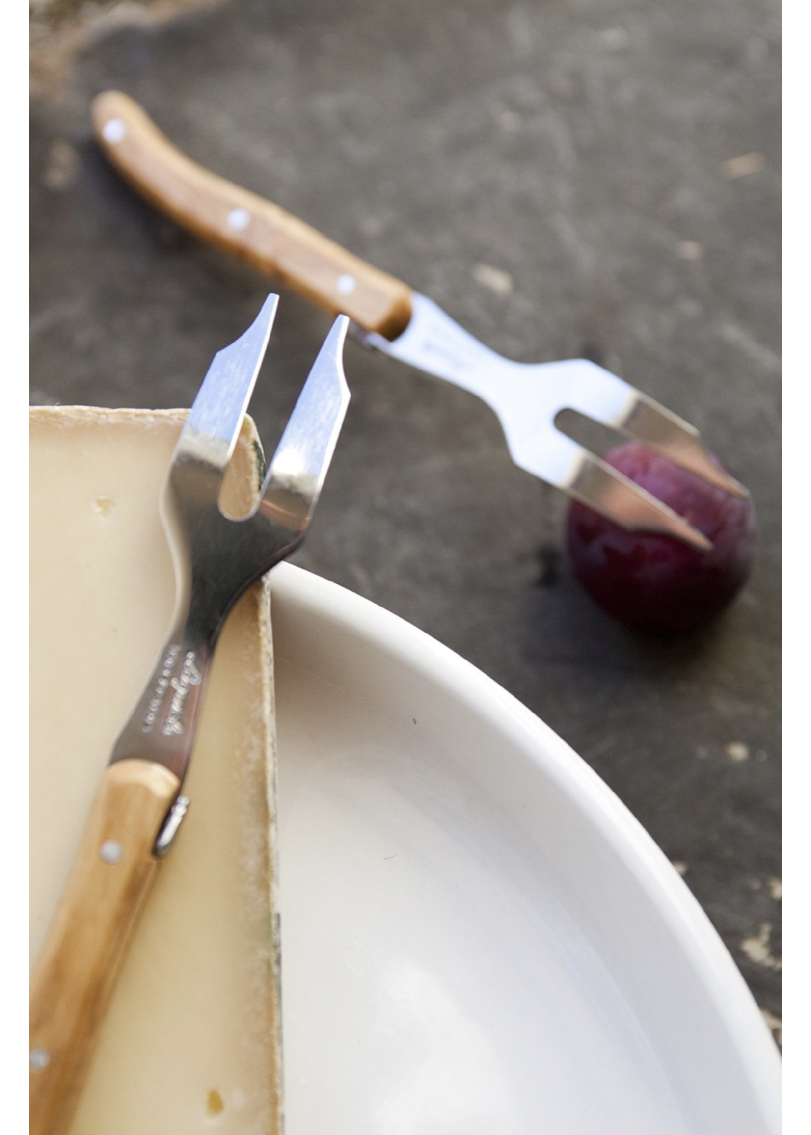 Laguiole Cheese Utensil - Olivewood (Mini Cheese Fork)