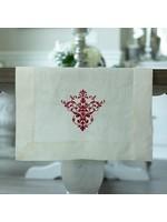 "Crown Linen Runner - Victorian - Cream/Red 108"""