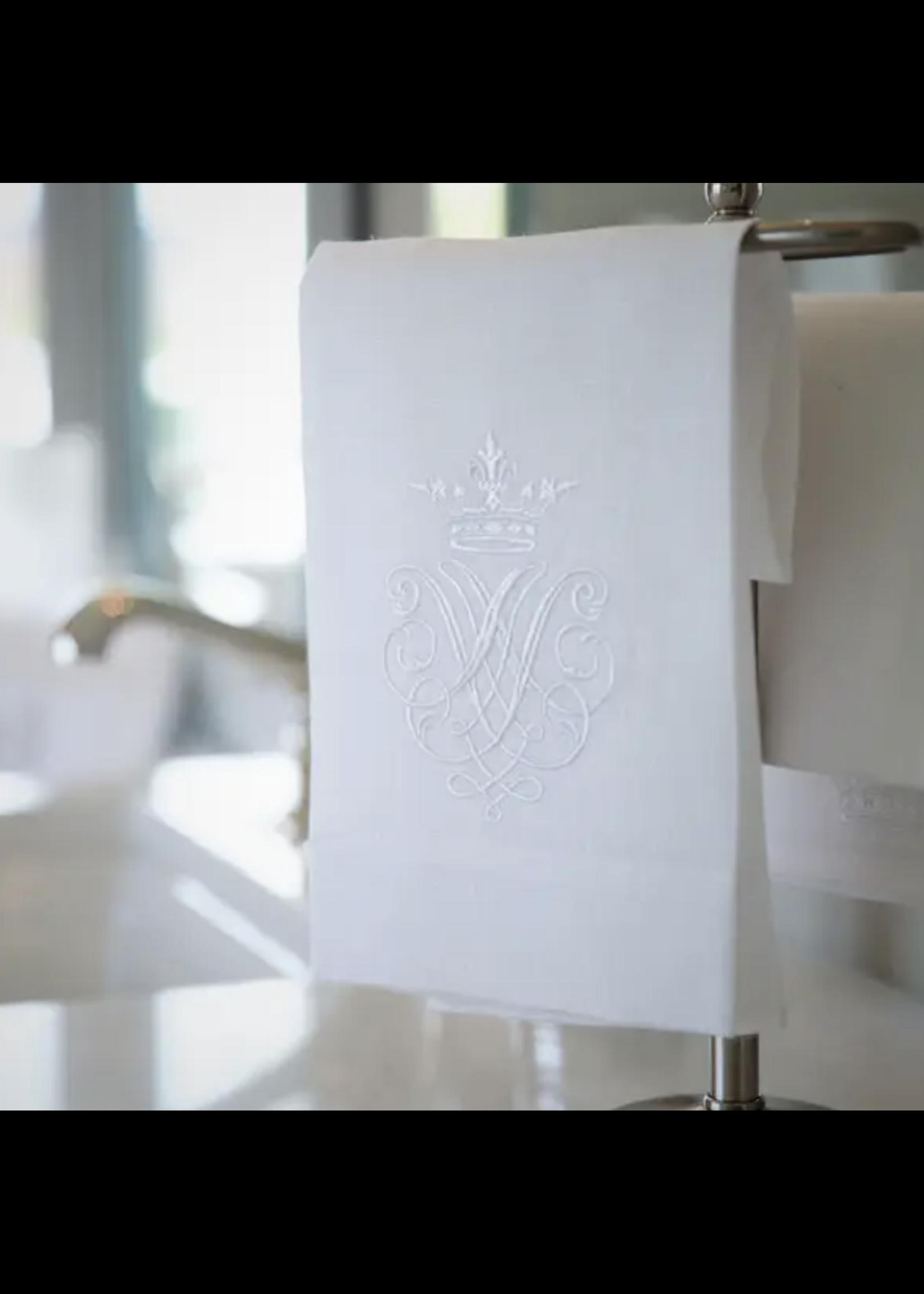 Crown Linen Towel - Crest White