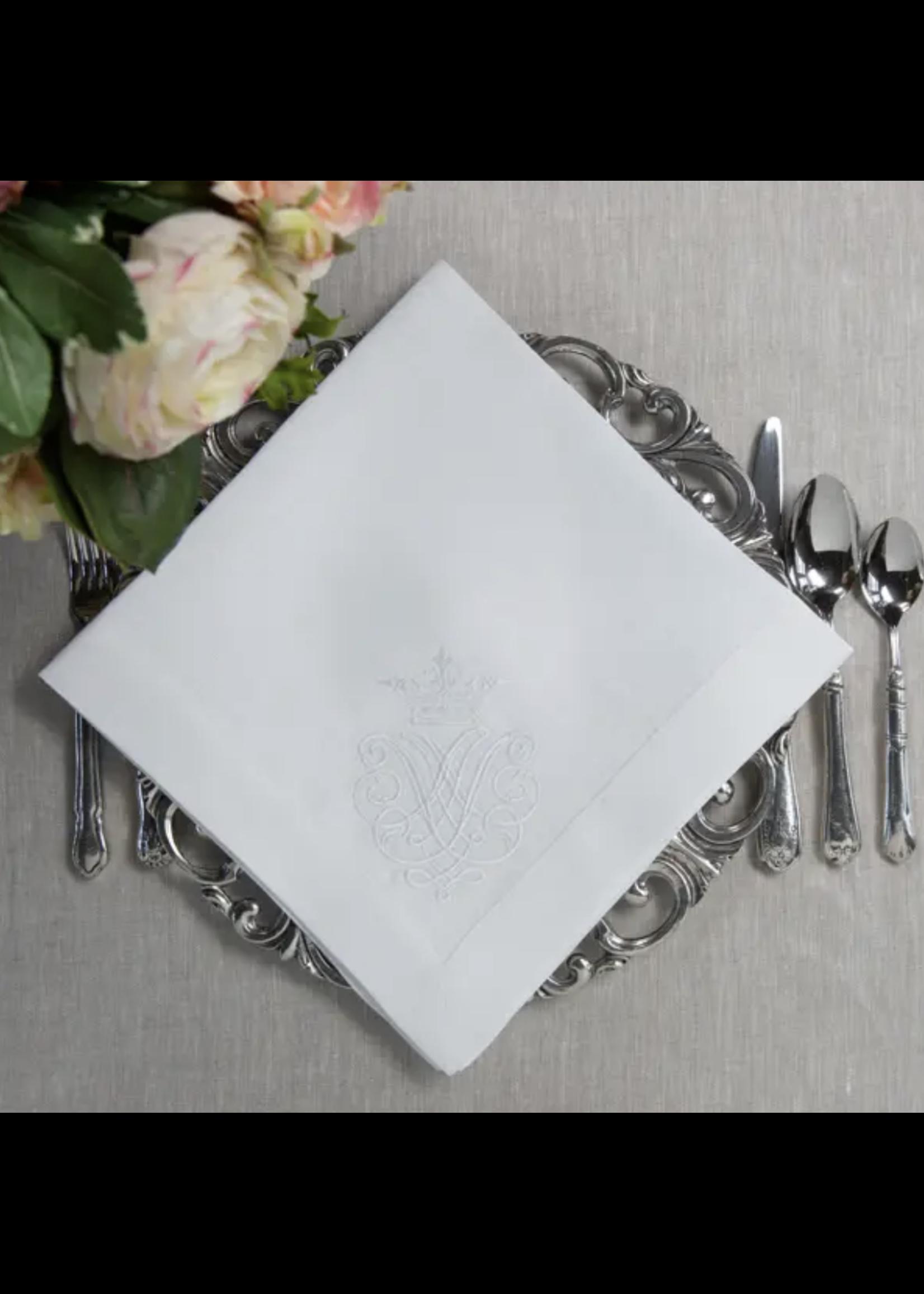 Crown Linen Napkin Large - Crest White