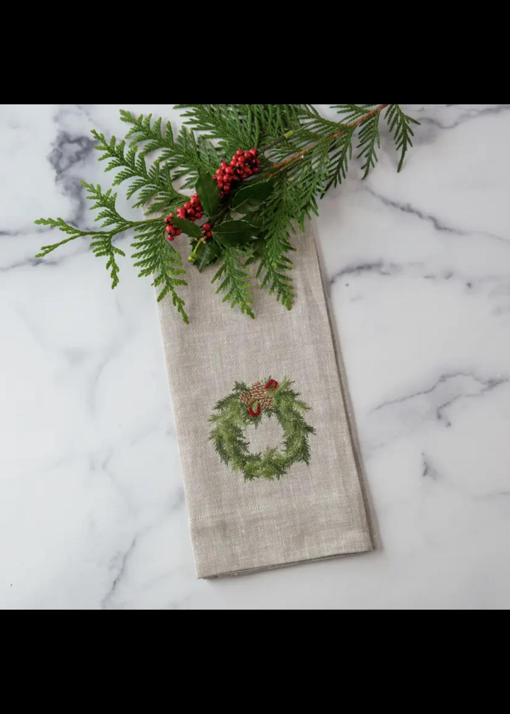 Crown Linen Towel - Juniper Wreath
