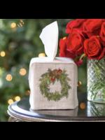 Crown Linen Tissue Box Cover - Juniper Wreath