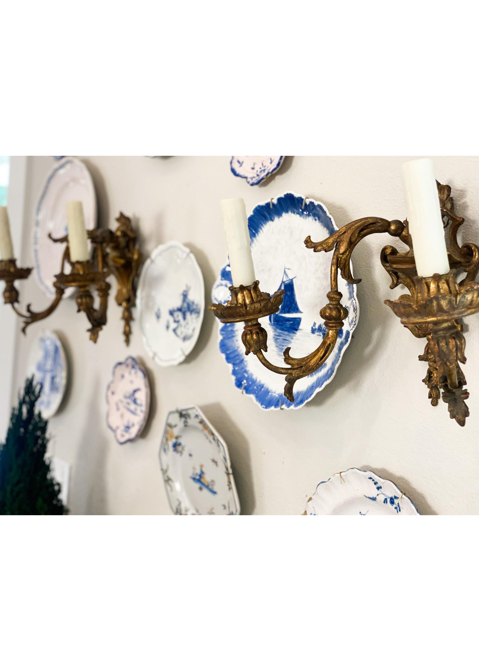 Antique Antique Blue & White Dish - Ships