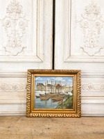 Antique Old Painting of Harbor from France