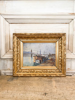 Antique Old Painting of Waterside from France