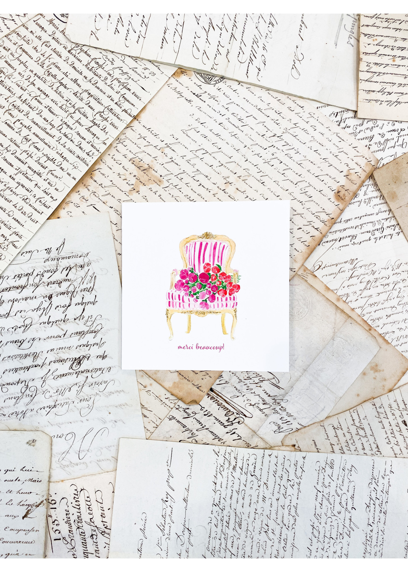 """Card - Louis XV Chair and Floral """"Merci Beaucoup!"""""""