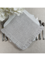 Crown Linen Napkin - Grey Pinstripe with Ruffle