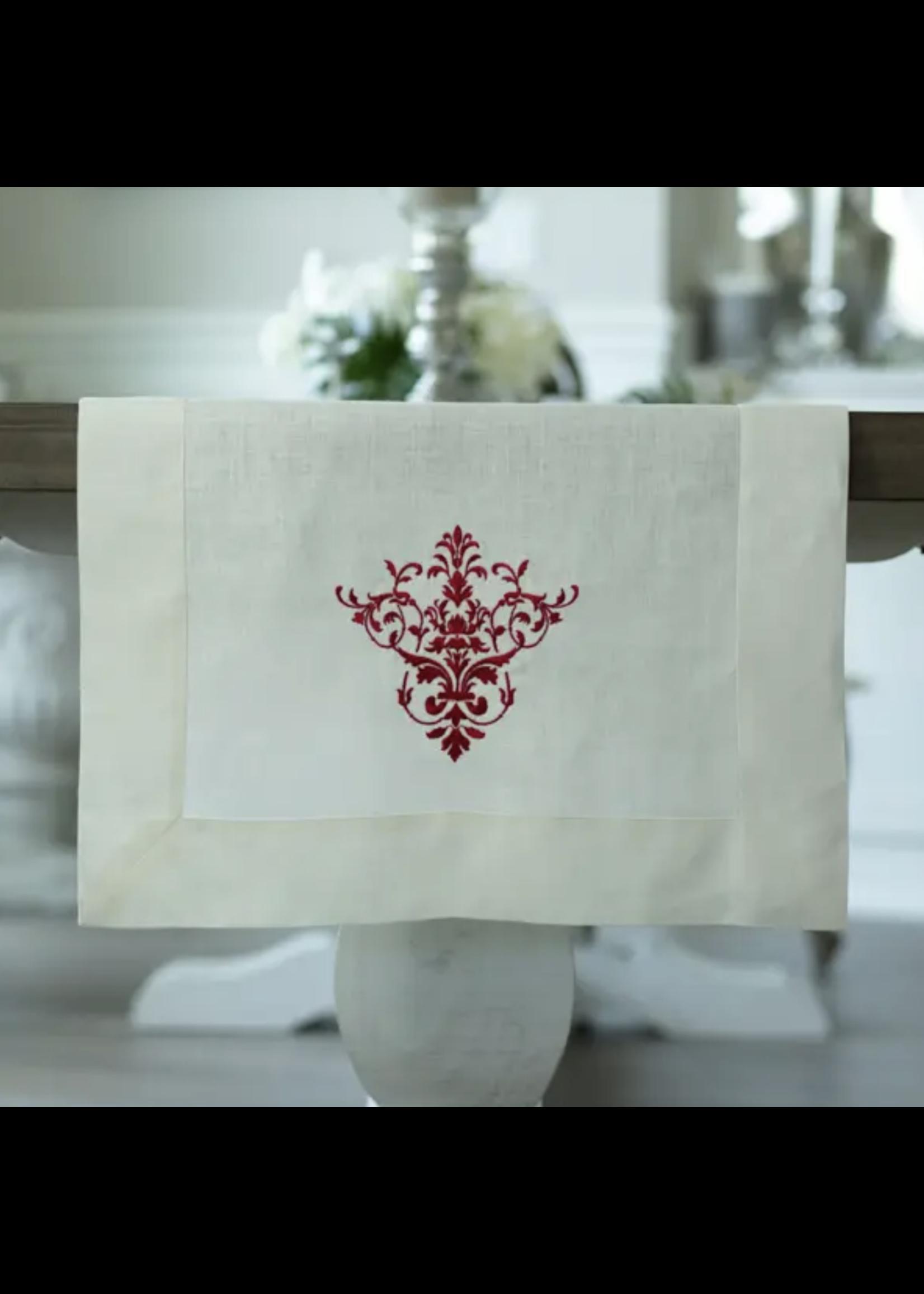 "Crown Linen Runner - Victorian - Cream/Red 90"""