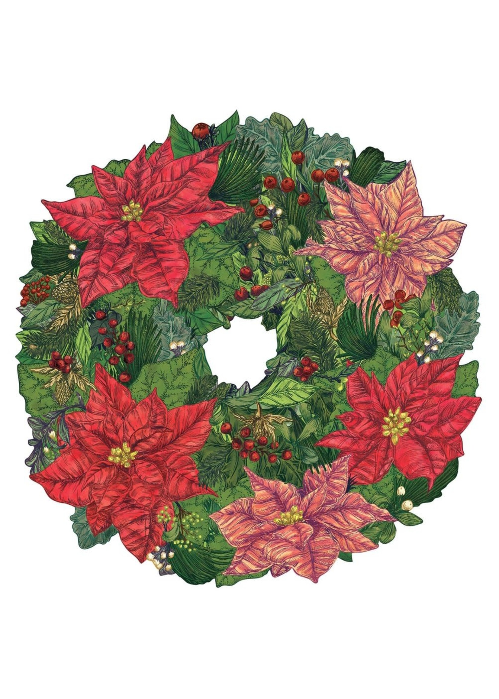 Hester & Cook Paper Placemats - Poinsettia Wreath