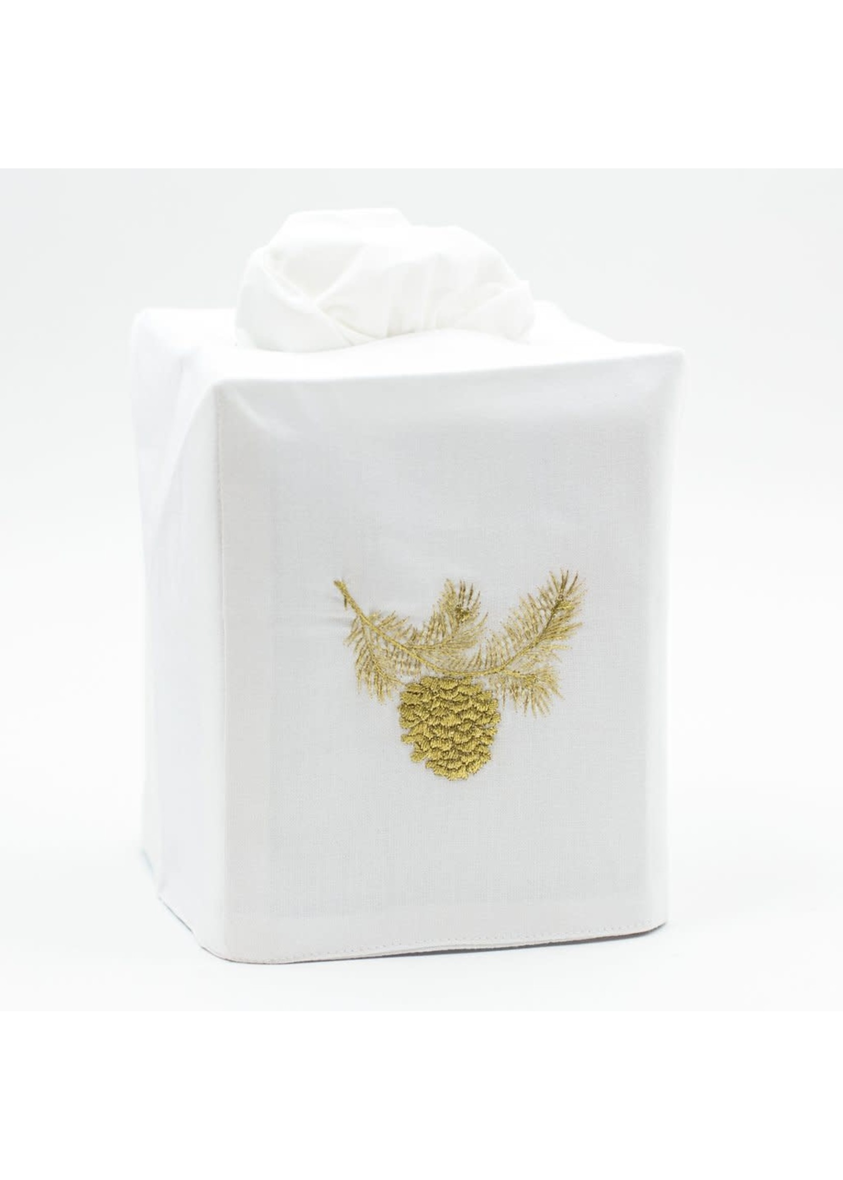 Henry Handwork Tissue Box Cover - Pinecone Gold
