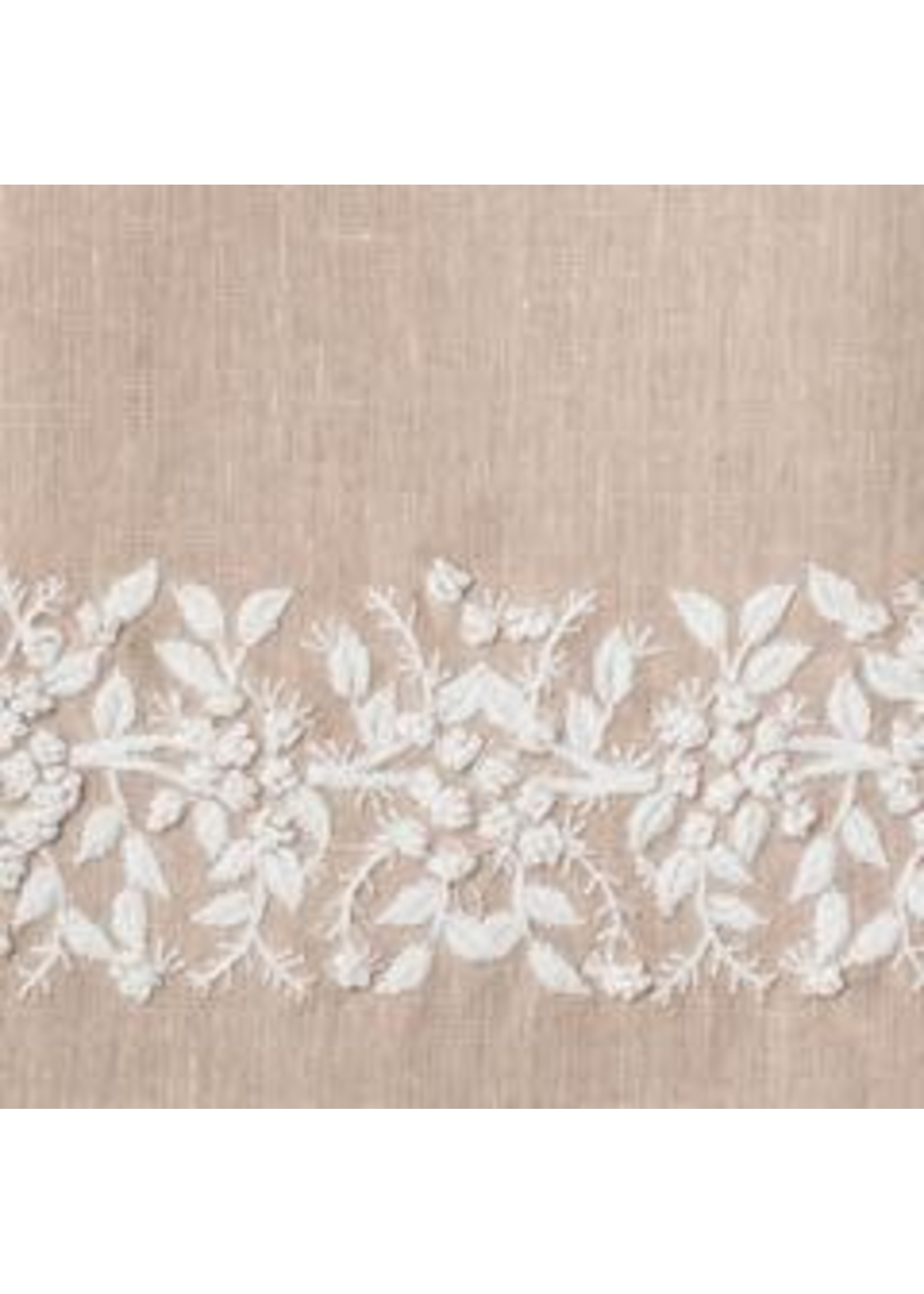 Henry Handwork Tissue Box Cover - Jardin Taupe with White