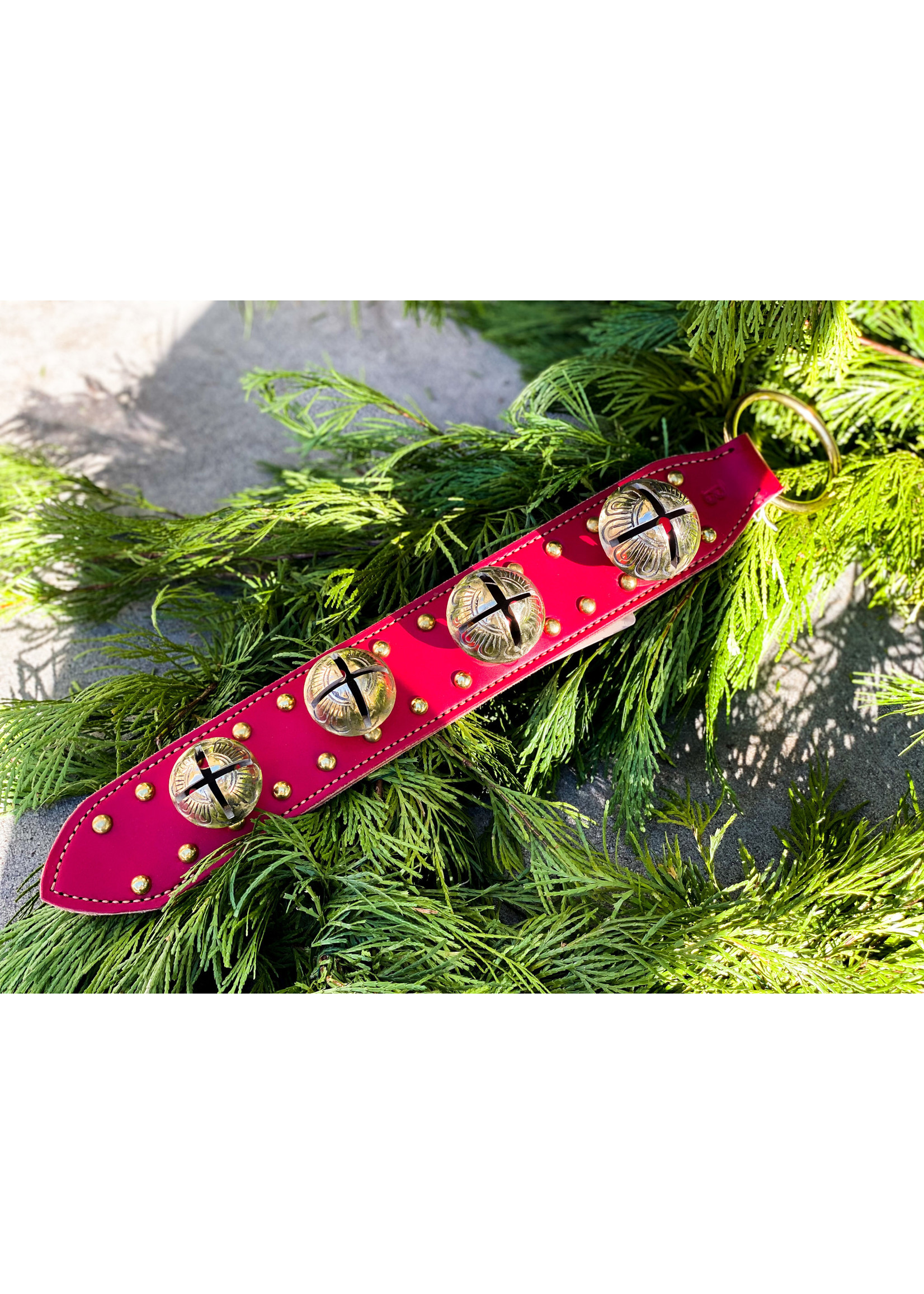 Bells - Stitched & Studded 4 Bell Strap - Red