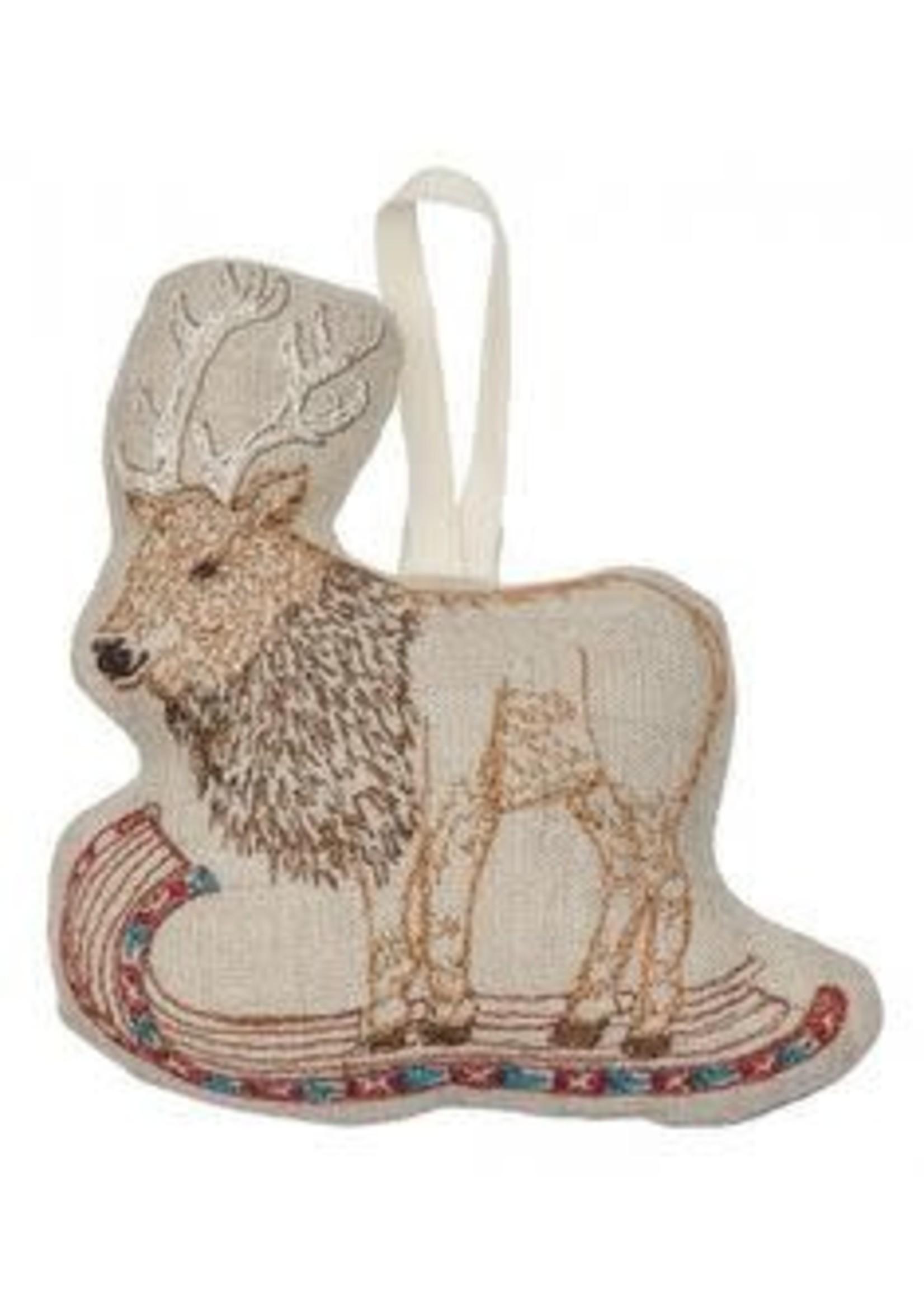 Coral and Tusk Ornament - Elk on Toboggan