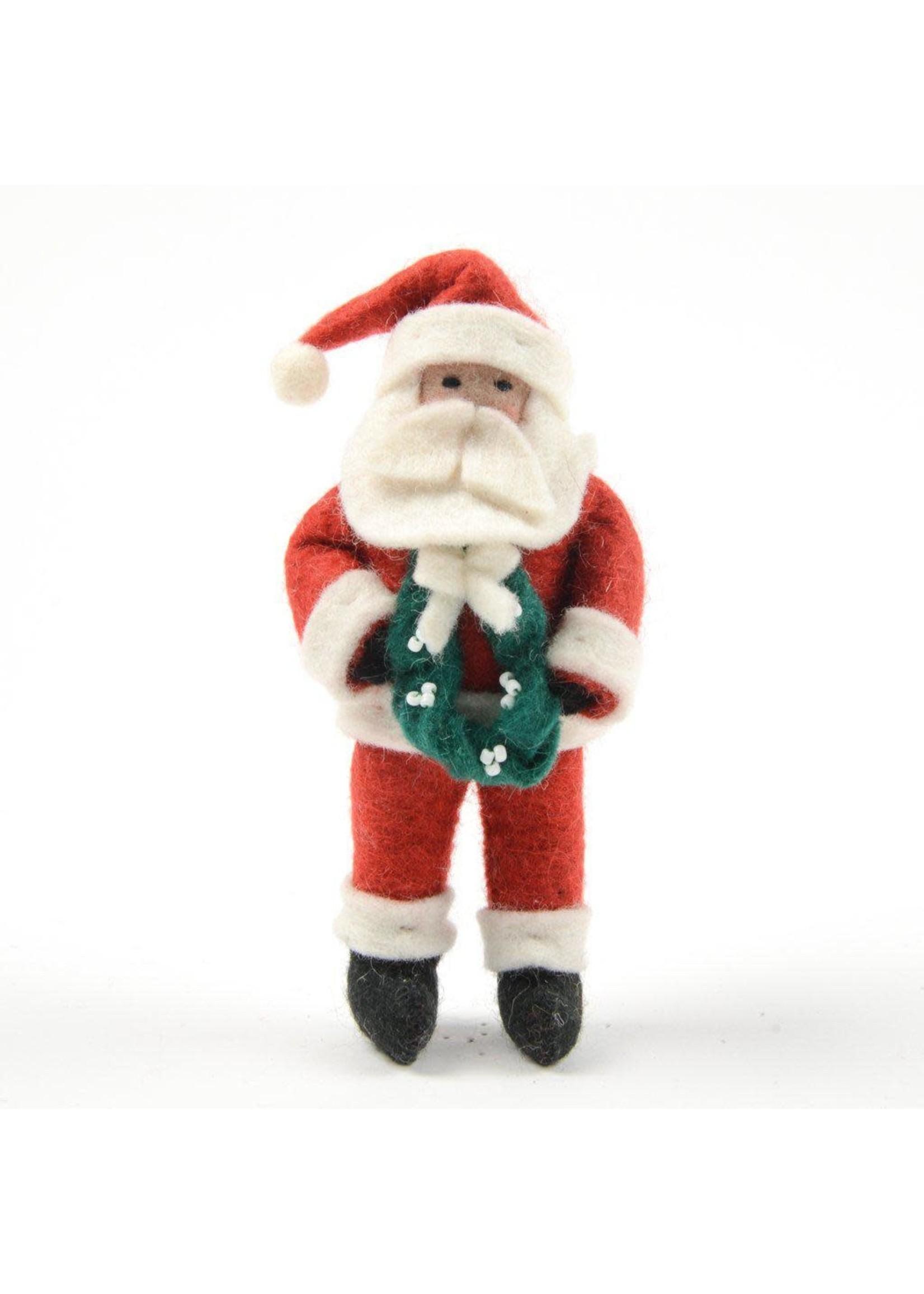 Ornament - Jolly Season Santa with Wreath