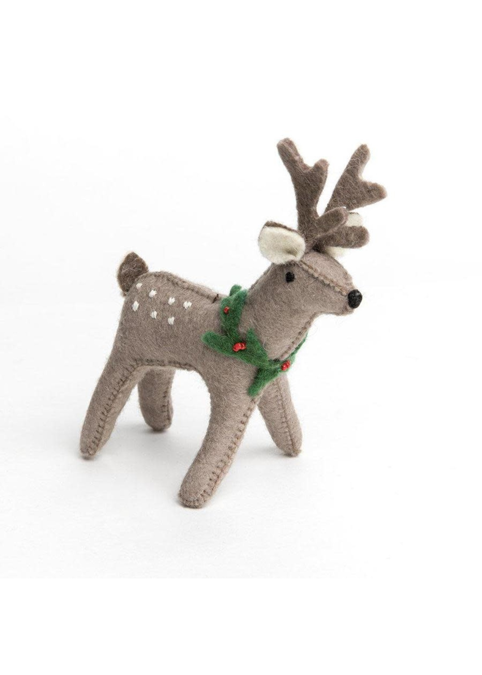 Ornament - Winter Bambi - Brown Deer with Dots