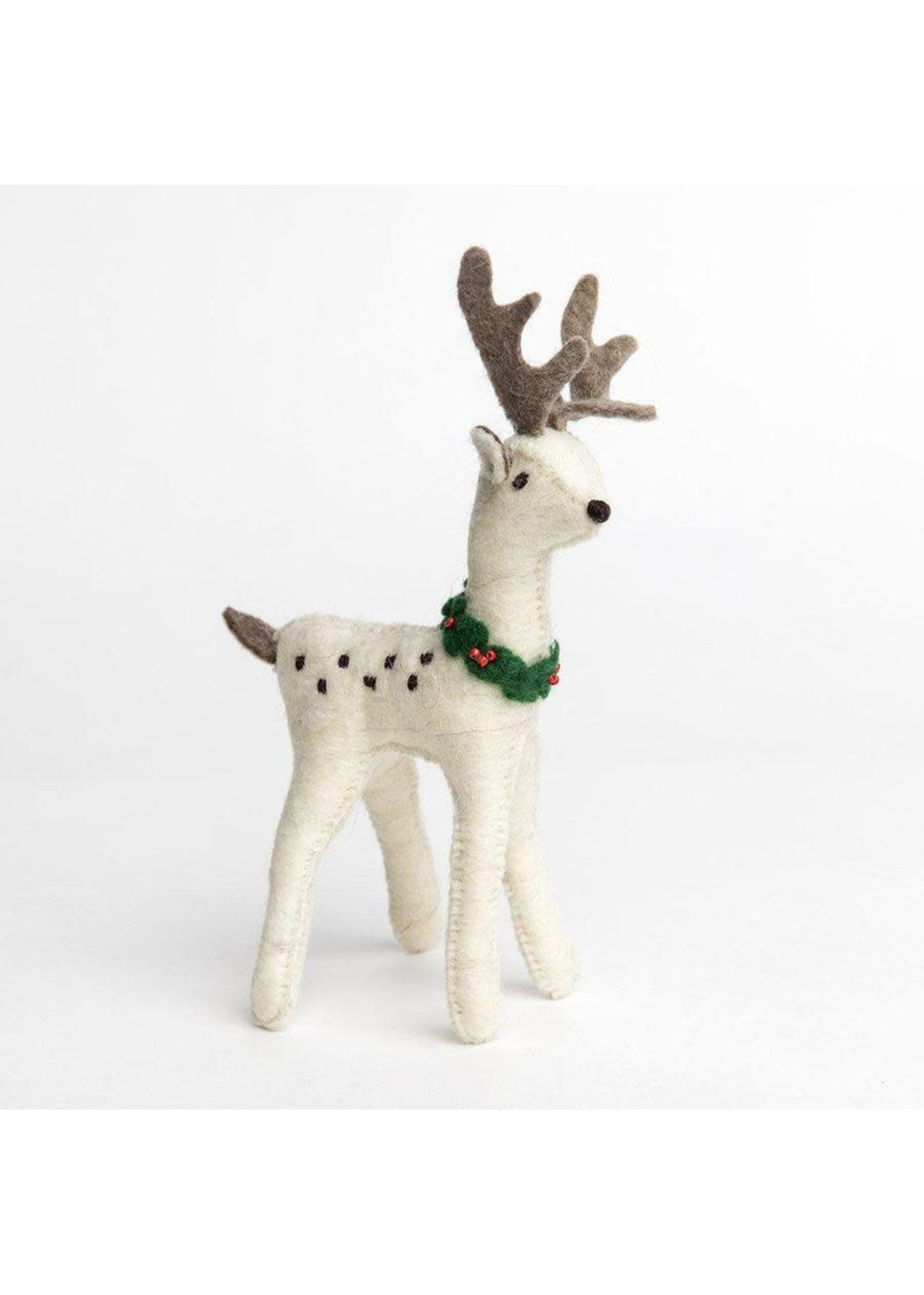 Ornament - Snow Buck - White Deer with Dots - Large