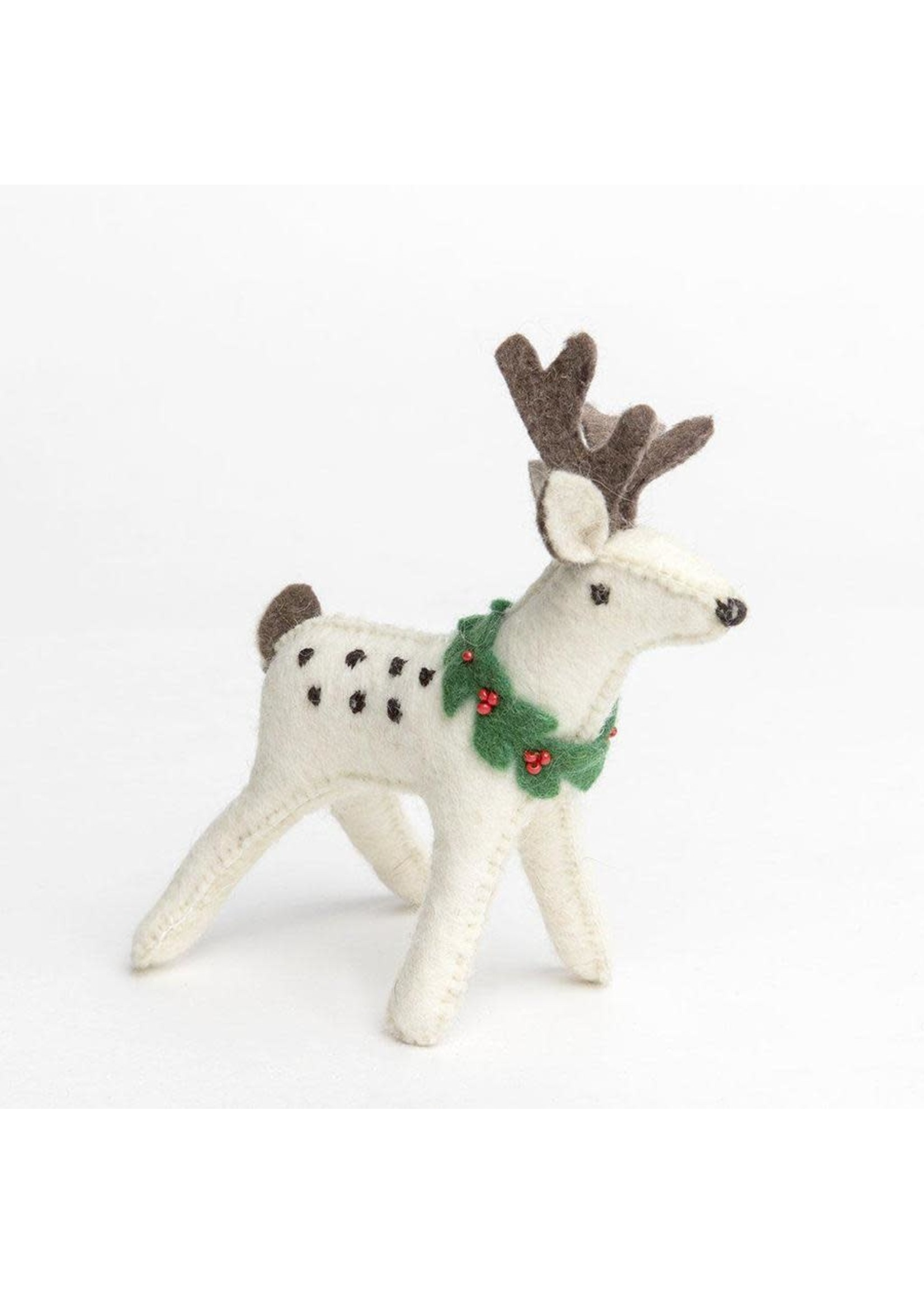Ornament - Snow Buck - White Deer with Dots