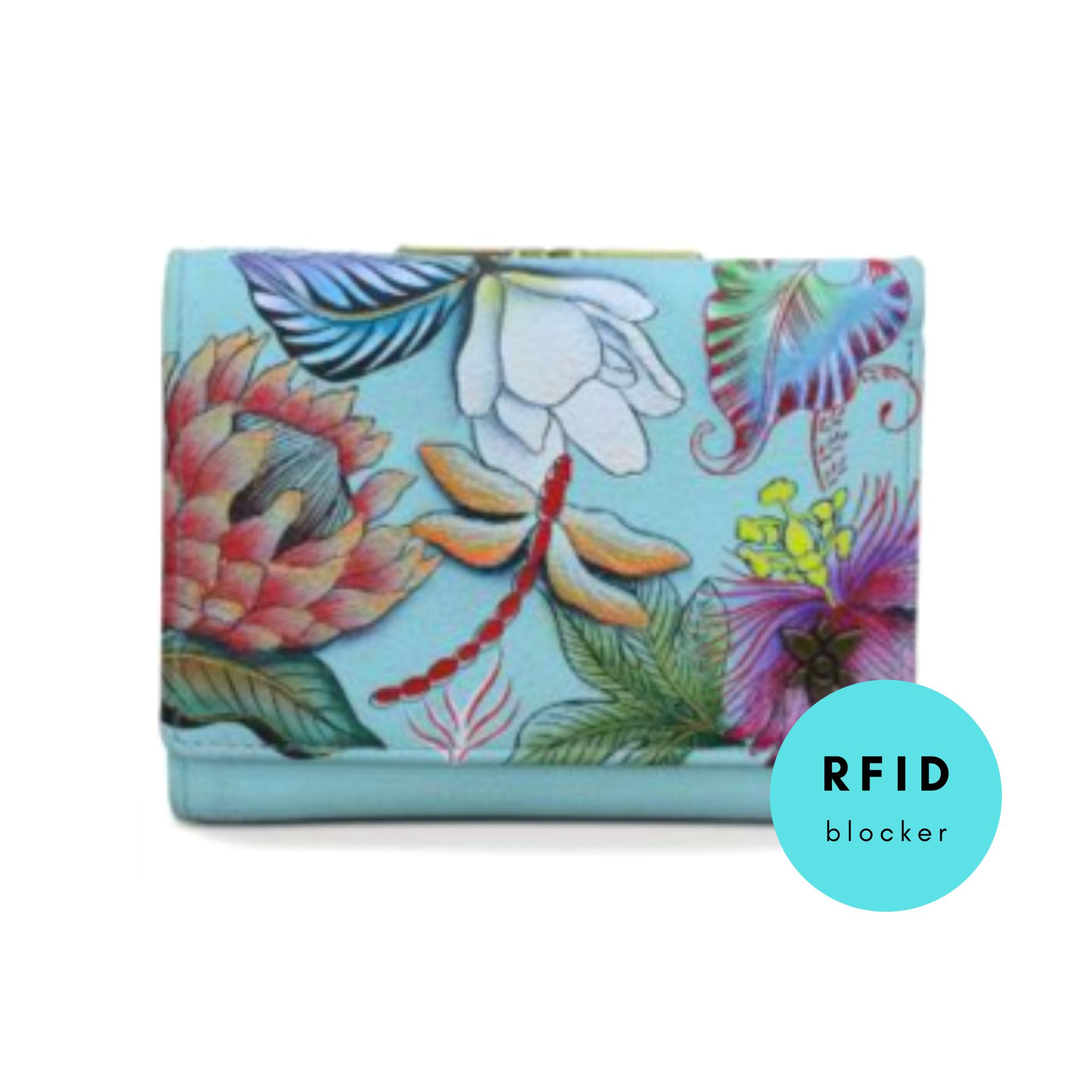 Anuschka small triple fold wallet with RFID 1138 jrd