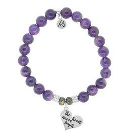 Heart Never Forgets Purple Jade Bracelet