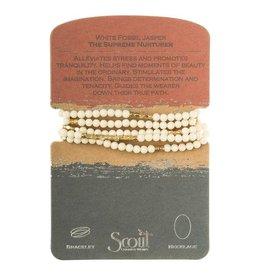 Scout- White Fossil Jasper/Gold Bracelet