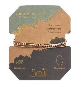 Scout- Rhondochrosite/Gold Delicate Bracelet