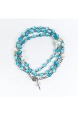 MSMH Rosary Wrap Bracelet Blue Silver