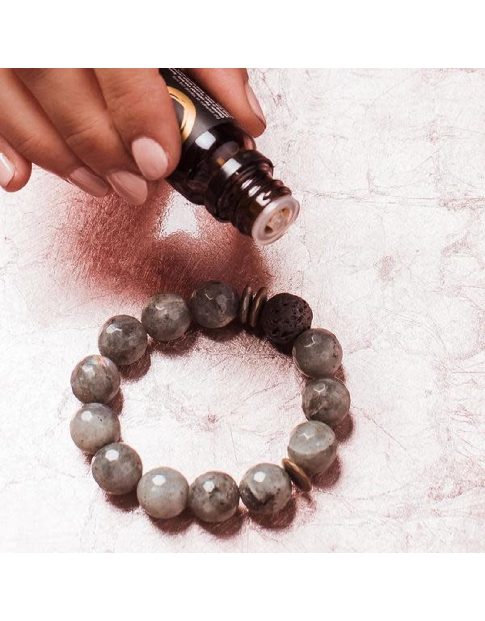 Lava & Gemstone Diffuser Bracelet- Amber Agate