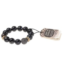 Lava & Gemstone Diffuser Bracelet- Black Agate
