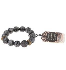 Lava & Gemstone Diffuser Bracelet- Black Labradorite