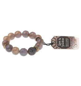 Lava & Gemstone Diffuser Bracelet- Gray Agate