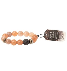 Lava & Gemstone Diffuser Bracelet- Sunstone