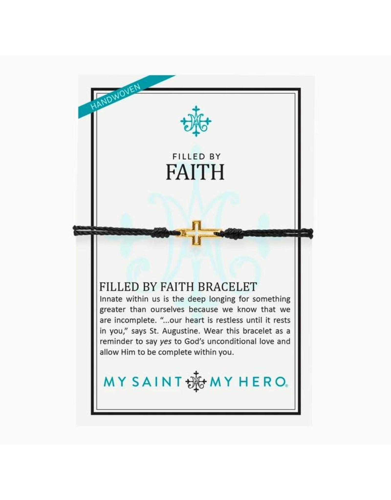 MSMH Filled By Faith Open Cross Bracelet Gold/Black