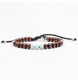 Family Virtues Bracelet For Men Wood Beads/Amazonite