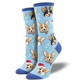 Socks Happy Pawlidays Blue Womens